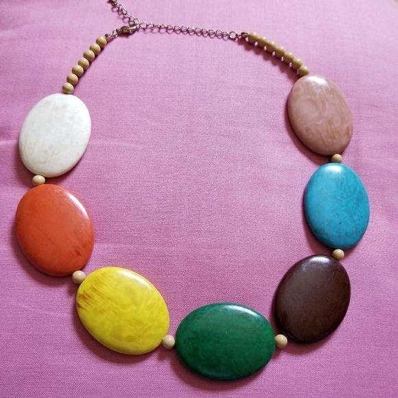 Vintage Jewelry - Vintage rainbow bead necklace chunky pride